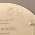 Custom Etched Zinc Backer with Acrylic Plaque on Standoffs